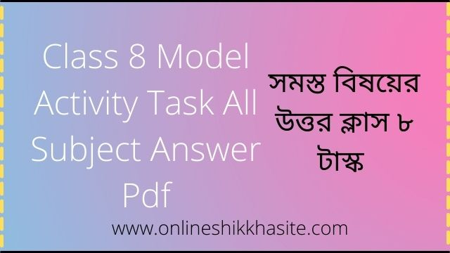 Class 8 Model Activity Task All Subject Answer